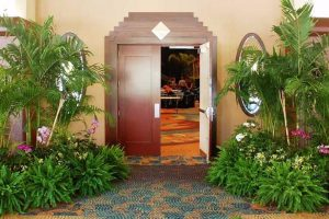 Live plants, effectively used to decorate and define an entrance.