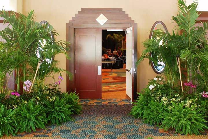 A beautiful array of live plants help make a great first impression for your guests as they enter the ballroom.