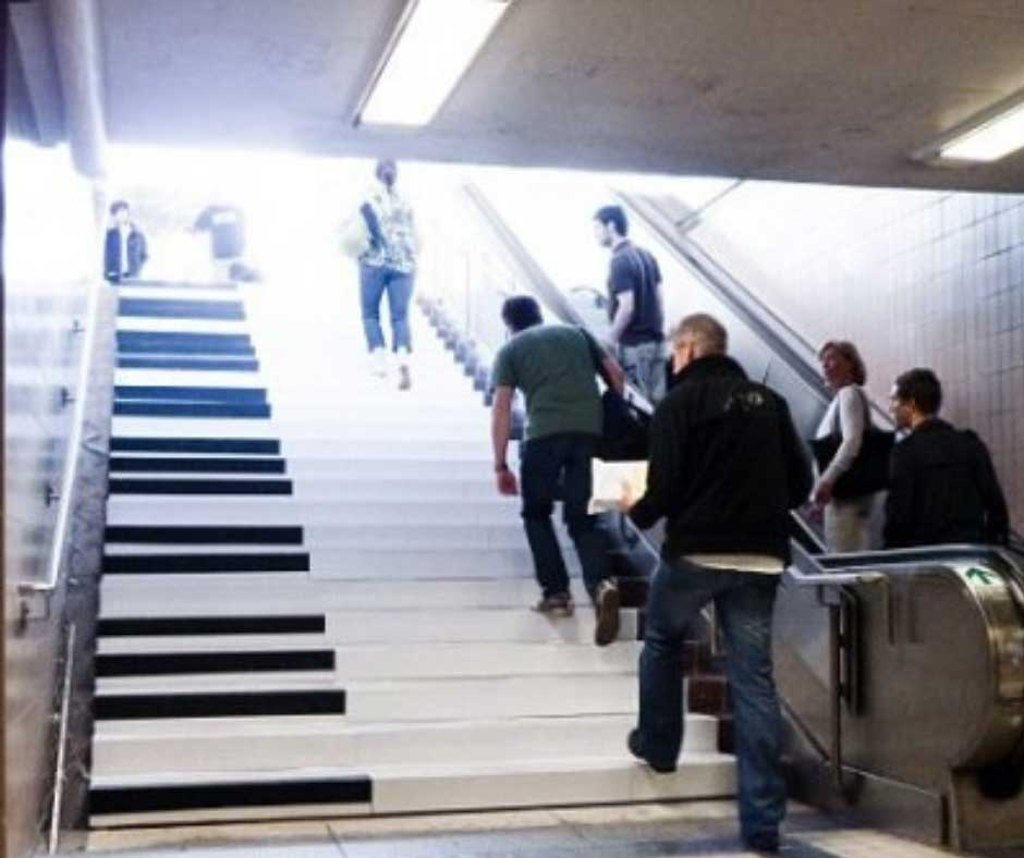 VW piano stairs